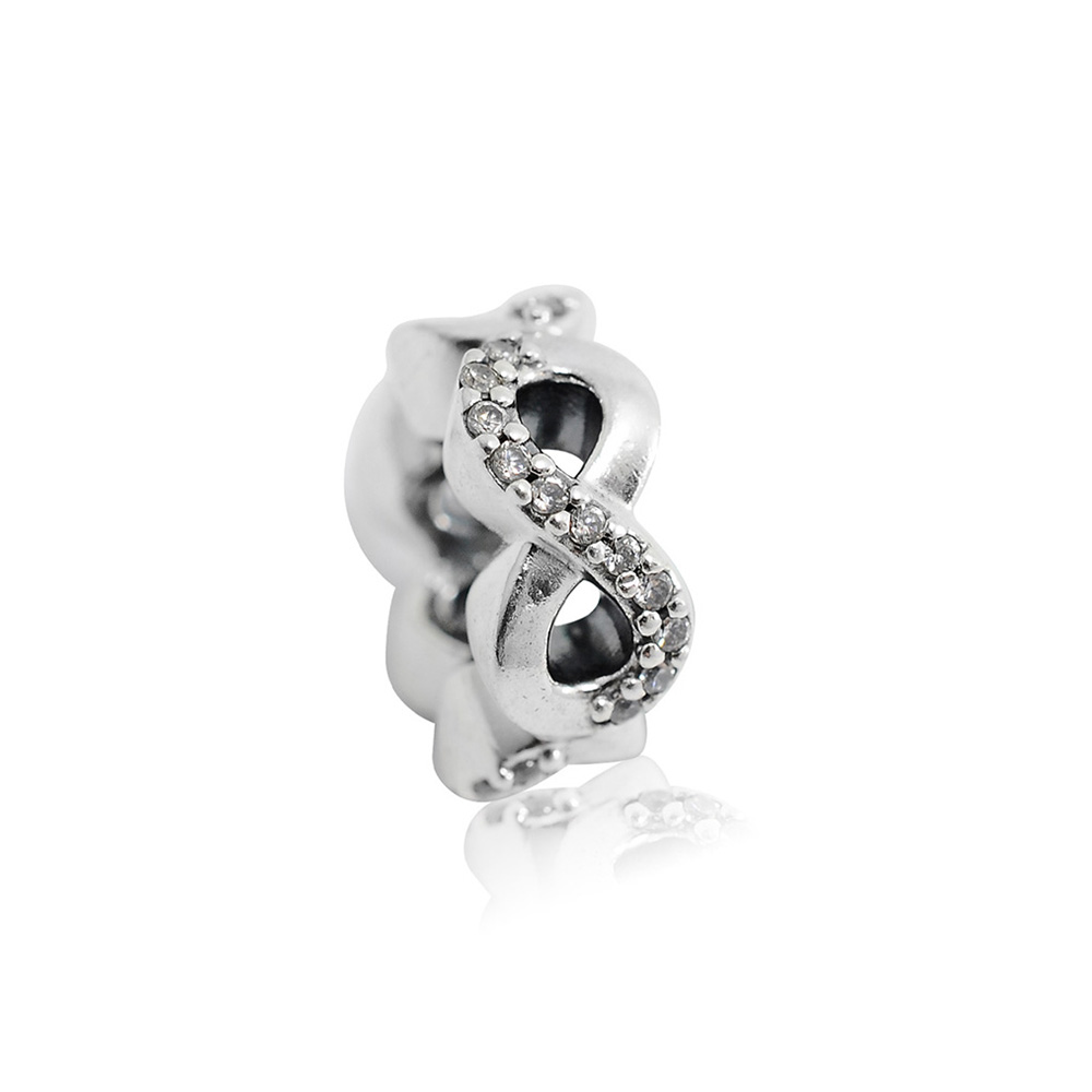 Pandora 潘朵拉 鏤空無限鑲鋯扁珠 純銀墜飾 串珠