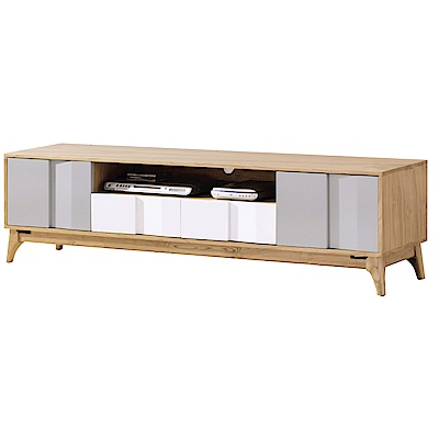 品家居 布菲6尺木紋雙色長櫃/電視櫃-180x40x49cm免組
