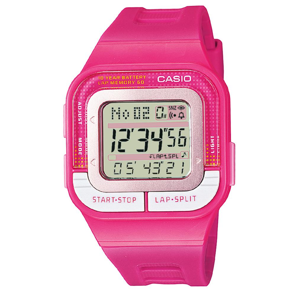 CASIO 10年電力慢跑數位運動風錶(SDB-100-4A)-桃紅/43.9mm