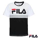 FILA 男款圓領T恤-黑1TER-1407-BK