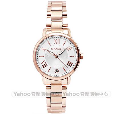 MANGO羅馬時標時尚雙色手錶-白X玫瑰金/29mm