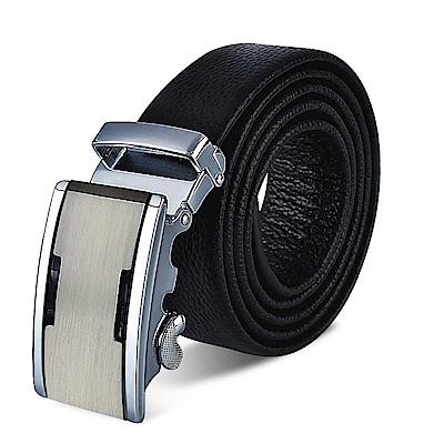 ZK2005BK簡約銀色自動扣頭層頂級牛皮腰帶皮帶黑色(腰圍在22-42吋內適用)