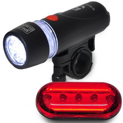 【超值】自行車前後燈組合 前燈可當手電筒 尾燈三段式