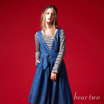beartwo 條紋寬領微喇叭袖造型上衣(二色)