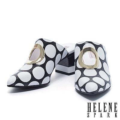 拖鞋 HELENE SPARK 復古鏤空金屬圓環黑白圓點穆勒高跟拖鞋-黑