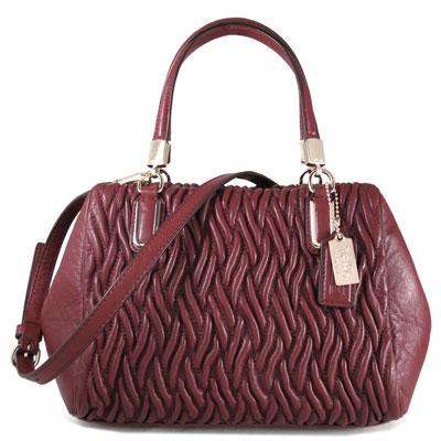 COACH-MADISON-紅磚色皺褶扭轉復古皮革手提斜肩兩用包