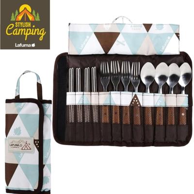 LAFUMA EQUIP印地安風304木柄餐具十二件組露營野餐登山