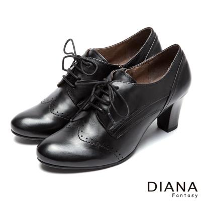 DIANA-經典學院-車線綁帶式沖孔真皮跟鞋-黑