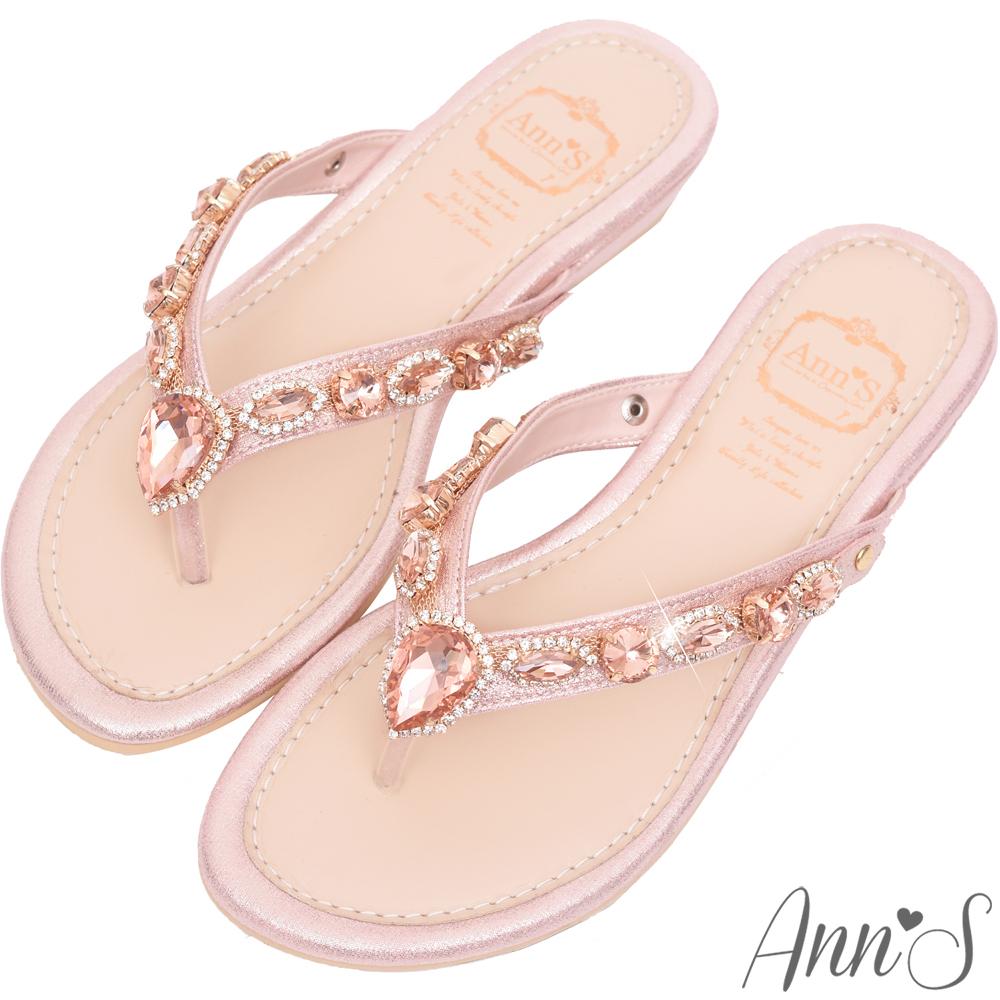 Ann'S透徹水鑽寶石夾腳涼拖鞋-粉