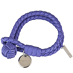 BV BOTTEGA VENETA 經典純手工編織雙環細嫩小羊皮手環(紫色)