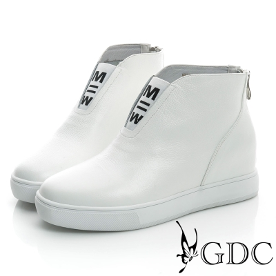 GDC舒適-素面拉鍊真皮內增高休閒鞋-白色