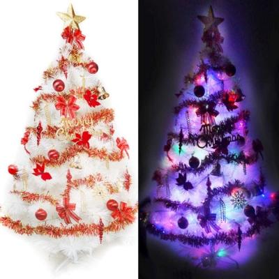 台製7尺210cm 特級白松針葉聖誕樹(紅金色系)+100燈LED彩光2串(附控制器跳機)