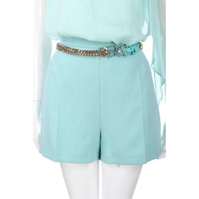 ELISABETTA FRANCHI 水藍色玫瑰腰鍊飾短褲