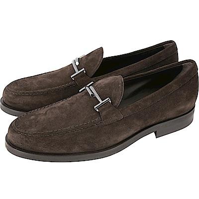 TOD'S Double T Mocassino 麂皮豆豆紳士鞋(男鞋/深咖色)