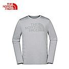 The North Face北面男款灰色彈力透氣運動長袖T恤