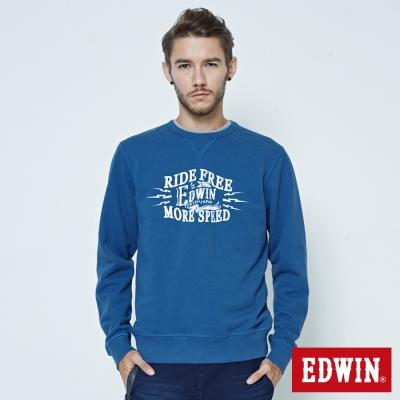 EDWIN 大學T衛衣長袖T恤-男-灰藍