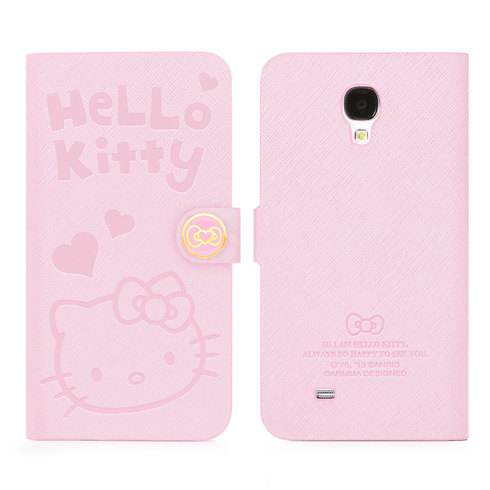 GARMMA Hello Kitty Samsung S4側掀式皮套-甜蜜粉