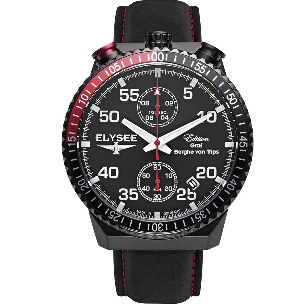 ELYSEE 懷錶造型時尚腕錶-黑/44mm
