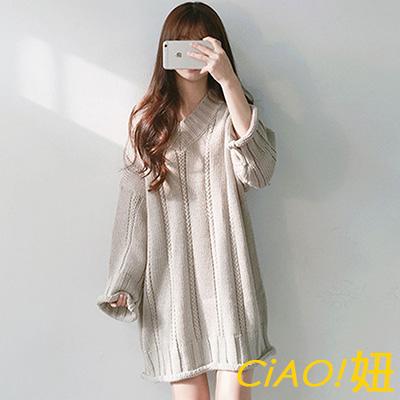 V領麻花紋長袖針織洋裝 (共三色)-CIAO妞