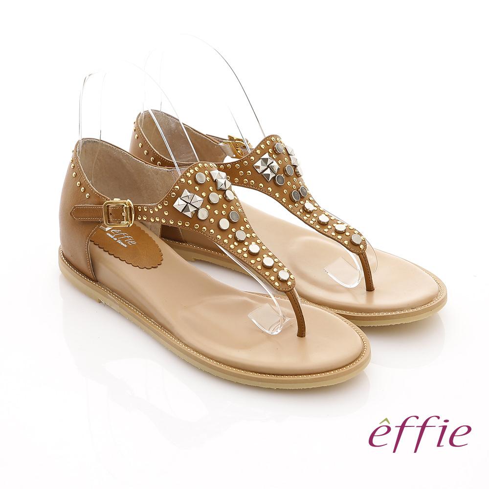 effie 美型夾芯 真皮金屬鉚釘T字涼鞋 土黃