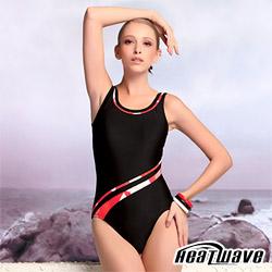 Heatwave熱浪 動感流線 萊克連身泳裝(附同款泳帽)