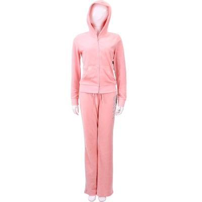 Juicy Couture 粉色亮片刺繡字母天鵝絨連帽休閒套裝(S/M)