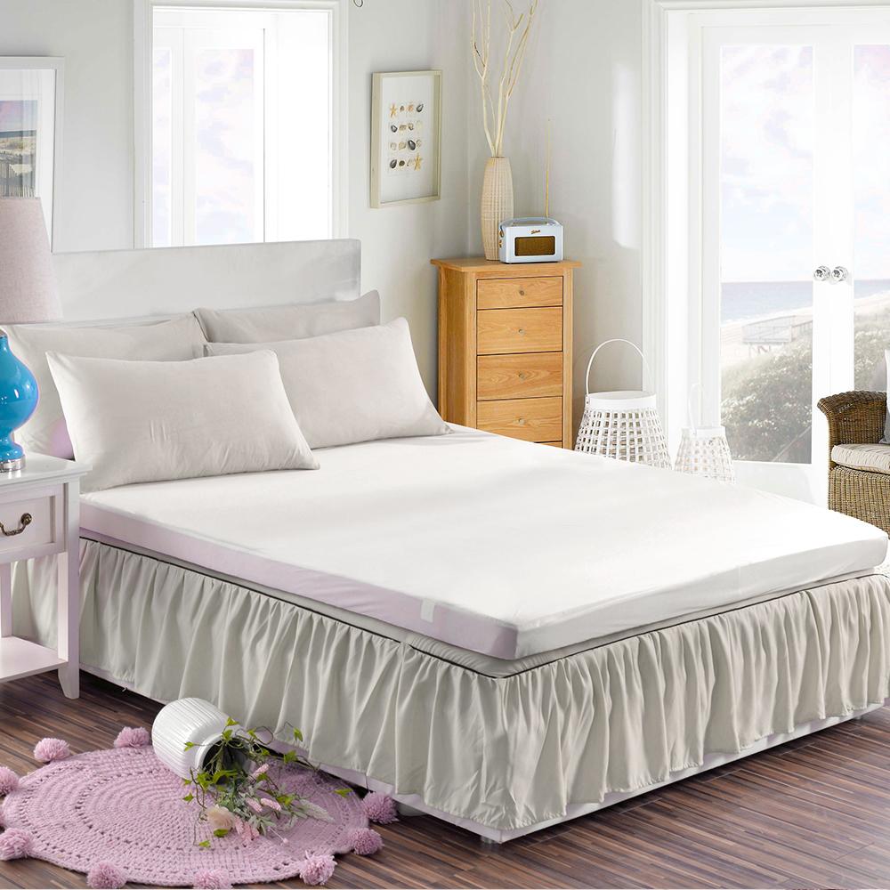 HUEI生活提案韓系玩色三件式枕套床裙組雙人淺灰