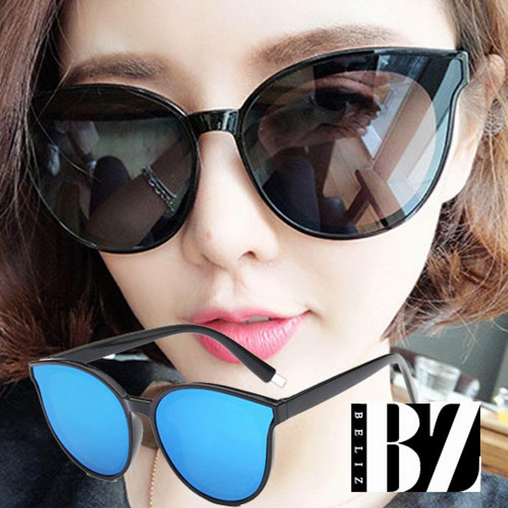 BeLiz 透視眼神 微貓眼膠框墨鏡 黑框藍