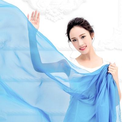 Seoul Show 超大版素面單色雪紡絲巾圍巾披肩 天藍