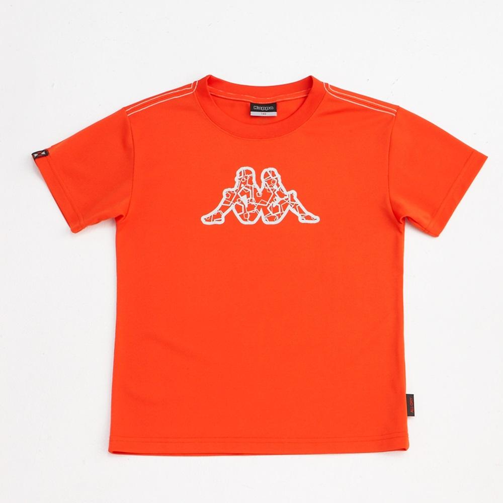 KAPPA義大利小朋友吸濕排汗速乾彩色圓領衫~磚橘色