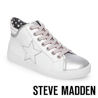 STEVE MADDEN-SAVIOR 星星綁帶高筒休閒鞋-白色