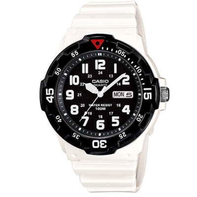 CASIO 潛水風DIVER LOOK指針錶(MRW-200HC-7B)-白/黑面/44.6mm