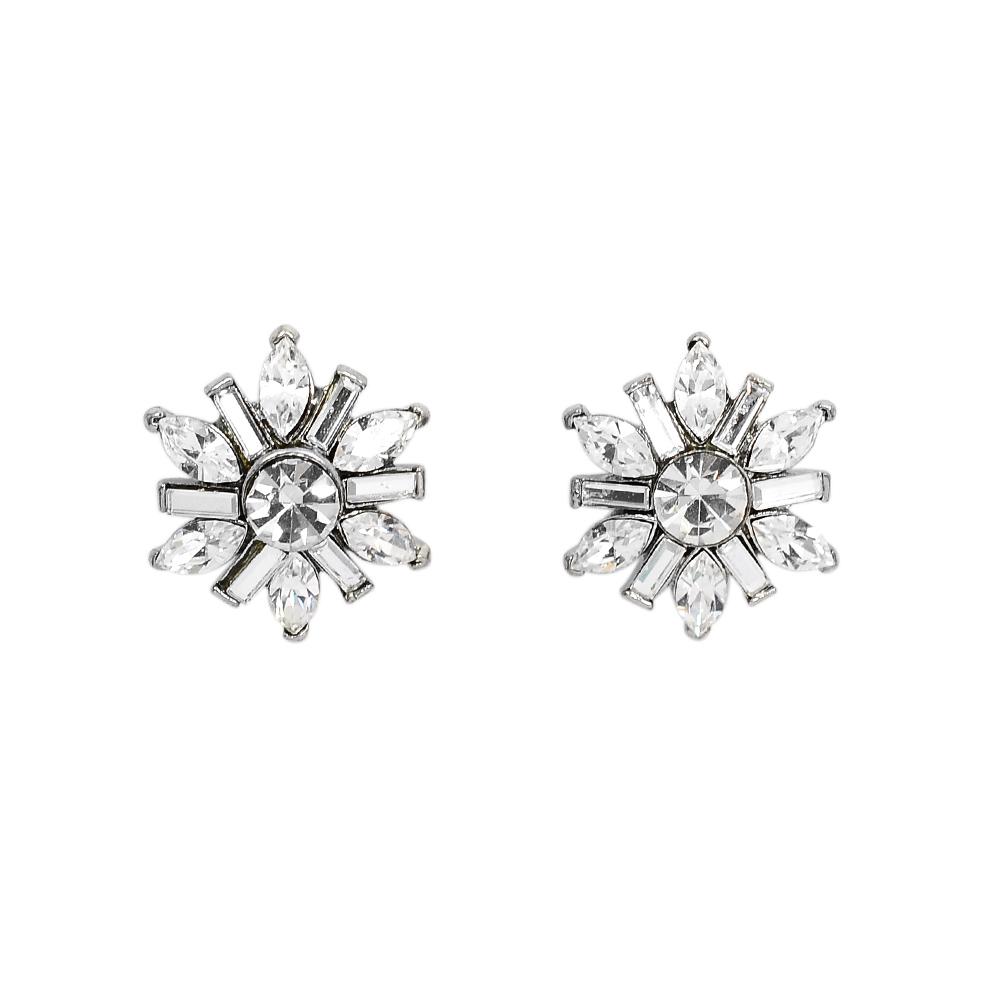 CAROLEE 歐美品牌 閃耀花朵綻放 銀色耳環