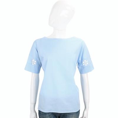 ROCCO RAGNI 水藍色花飾設計短袖棉質上衣