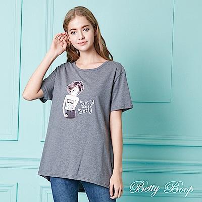 Betty Boop貝蒂 圓領後鏤空抓皺彈性上衣(共兩色)