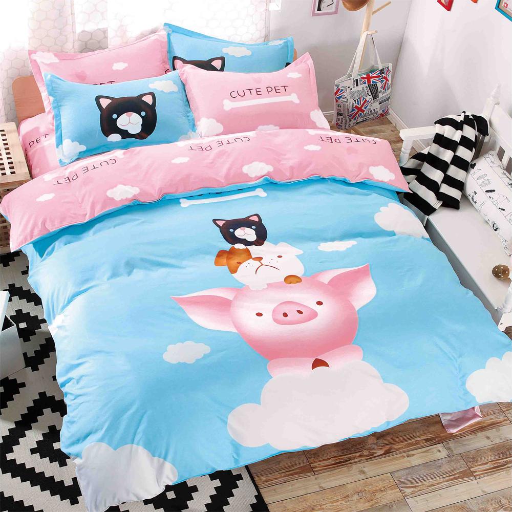 原創本色 可愛寵物 舒柔棉加大四件式被套床包組