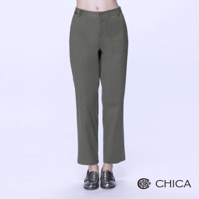 CHICA-復古剪裁前後車縫線高腰寬褲-3色