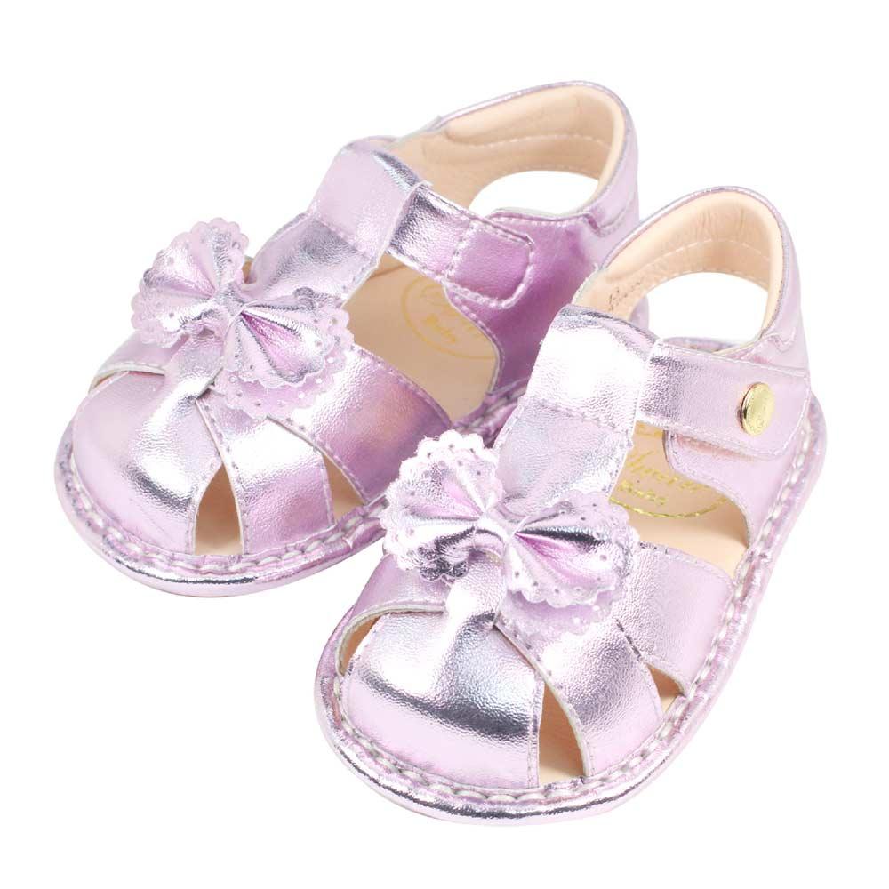 Swan天鵝童鞋-炫彩金屬色蝴蝶結寶寶涼鞋1513-紫
