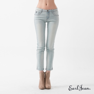 Earl Jean 魔鏡翹臀中腰緊身窄管九分褲-淺藍-女