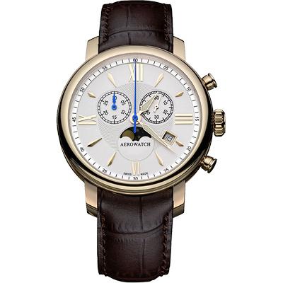 AEROWATCH Elegance 羅馬計時腕錶-銀x玫瑰金框/42mm