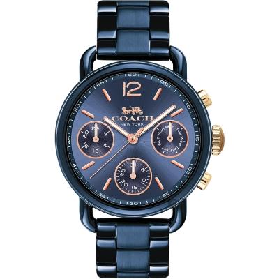 Coach 紐約時尚日曆女錶-黑/36mm
