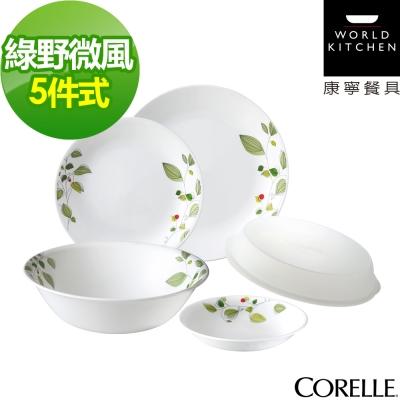 CORELLE康寧-綠野微風5件式餐盤組-501