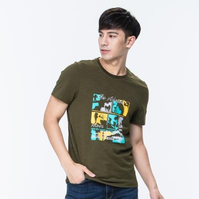 【ATUNAS 歐都納】竹節棉吸濕透氣排汗男款圓領短袖T恤A1-T1706M軍綠