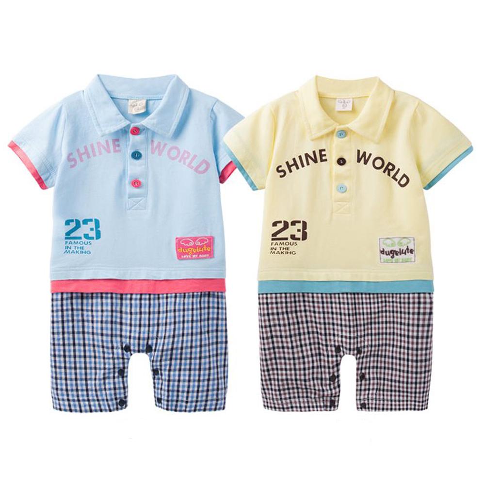 baby童衣 連身衣 翻領格紋可愛貼布 42180
