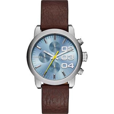 DIESEL Flare 美式狂潮計時腕錶-藍x咖啡/40mm