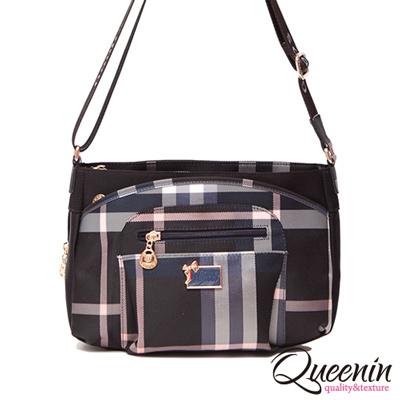 DF Queenin日韓 - 經典Grid歐式風格仕女款側背包