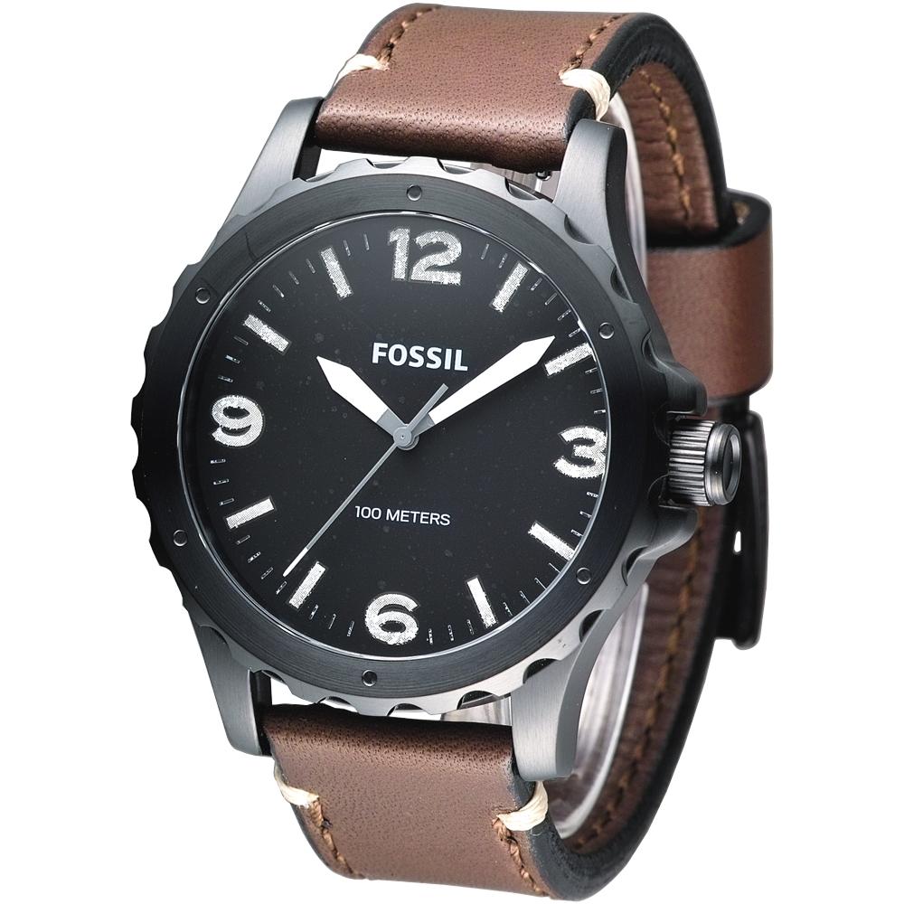 FOSSIL 紐約都會風大錶徑時尚腕錶-黑/咖啡/48mm