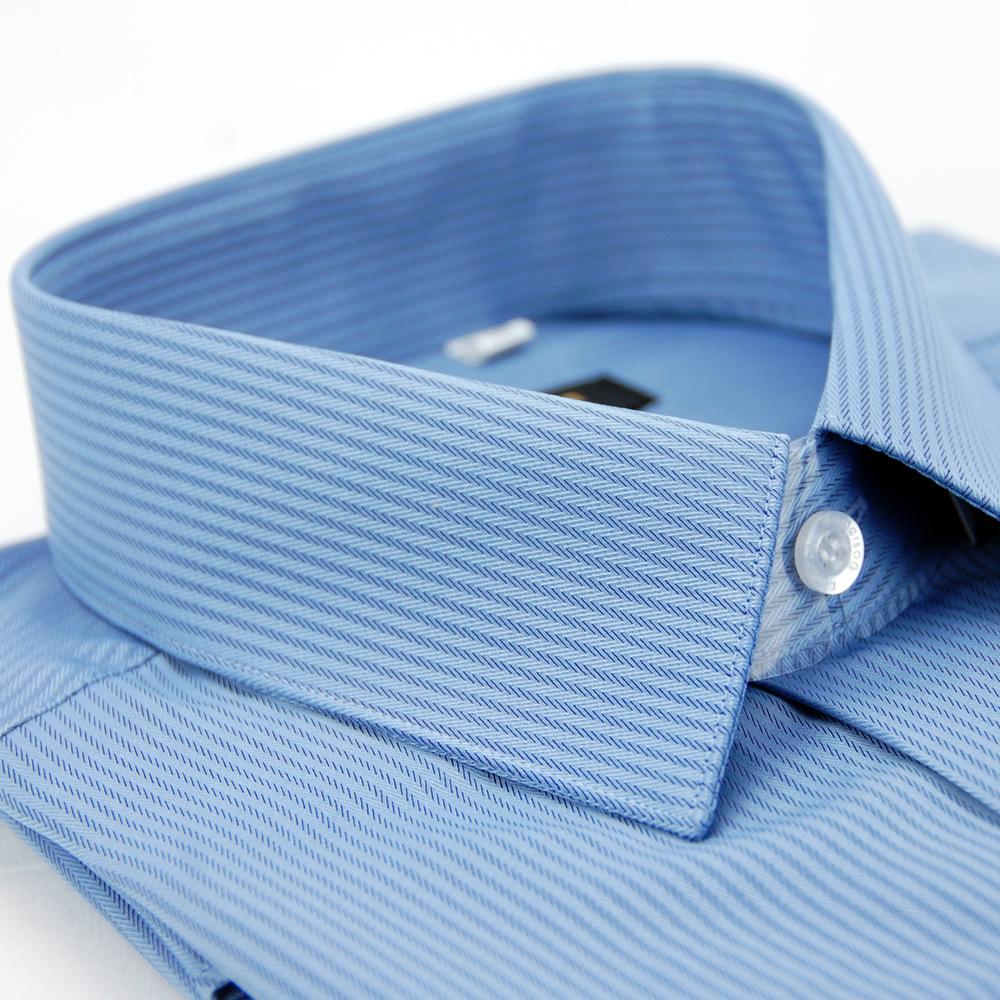 金‧安德森 藍色暗紋類絲質窄版長袖襯衫