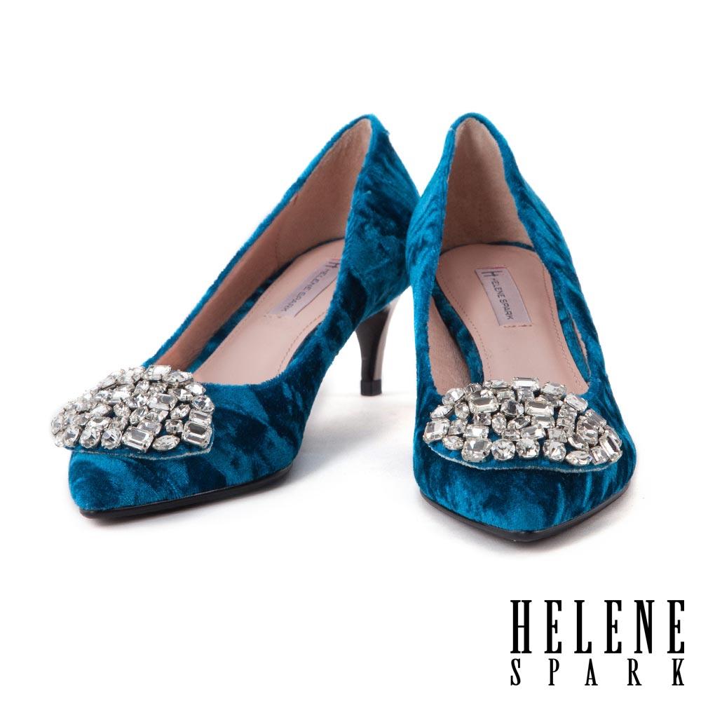 高跟鞋 HELENE SPARK 奢華白鑽釦飾絨布尖頭高跟鞋-藍