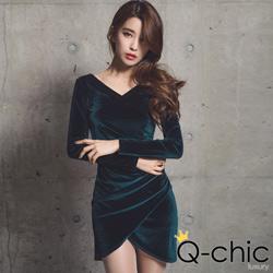 花苞交疊下襬光澤天鵝絨洋裝 (共三色)-Q-chic